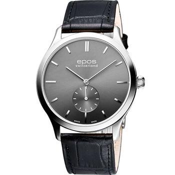 epos 經典超薄獨立小秒針機械腕錶-金屬灰3408.208.20.14.15FB