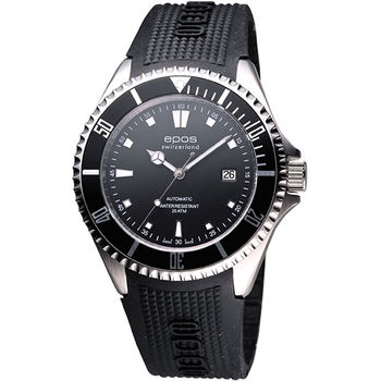epos 深海探險200米潛水機械腕錶-黑/橡膠錶帶3396.131.20.15.55