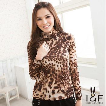IFOREST 夢幻豹紋高領造型上衣112-2101