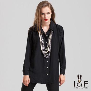 IFOREST 優雅精緻雪紡黑襯衫13566