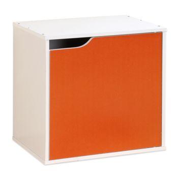 【Hopma】白配亮橙單門收納櫃