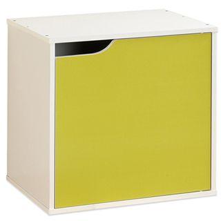 【Hopma】白配亮綠單門收納櫃