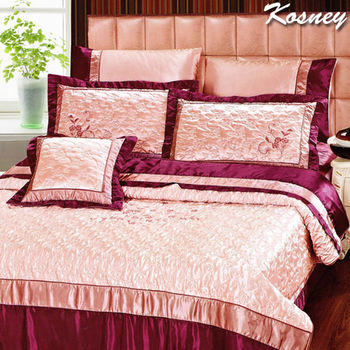 【KOSNEY】典雅風華頂級絲緞刺繡精梳棉雙人八件式舖棉床罩組