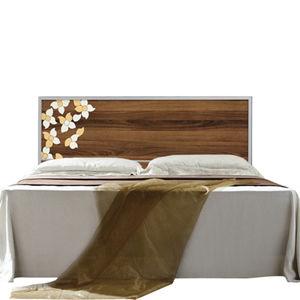 【日式量販】花木紋5尺胡桃雙人床組(床頭片+床底)