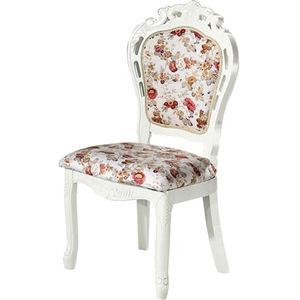 【日式量販】古典玫瑰白色實木餐椅