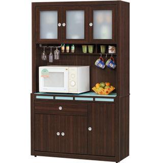 【日式量販】收納機能玻璃桌面4尺胡桃隔間餐櫃