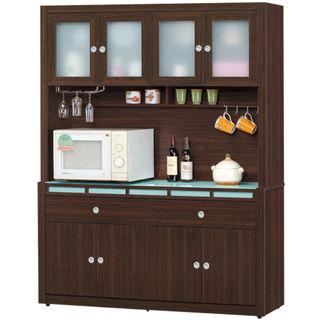 【日式量販】收納機能玻璃桌面5尺胡桃隔間餐櫃