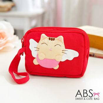 【ABS貝斯貓】大頭貓咪小錢包 零錢包 紅色88-179