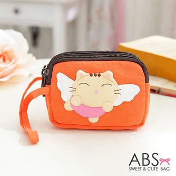 【ABS貝斯貓】大頭貓咪小錢包 零錢包 橘色88-179