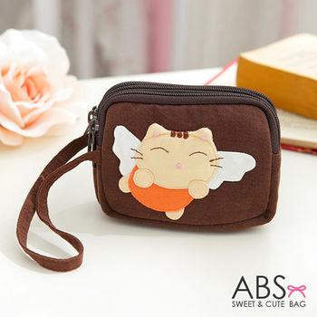 【ABS貝斯貓】大頭貓咪小錢包 零錢包 咖啡88-179
