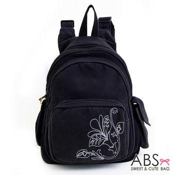 【ABS貝斯貓】素雅花圖騰後背包 拼布包 黑色88-037