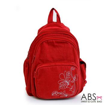 【ABS貝斯貓】素雅花圖騰後背包 拼布包 紅色88-037