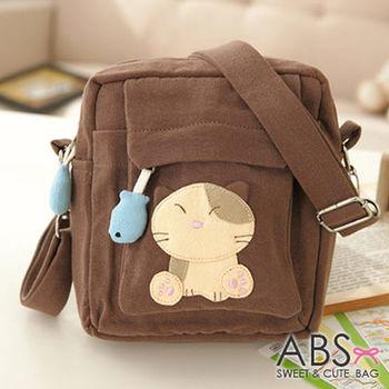 【ABS貝斯貓】小小貓咪拼布包 斜背包 咖啡88-036