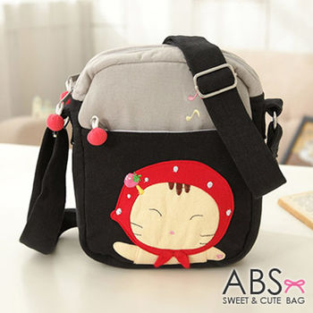 【ABS貝斯貓】小紅帽貓咪拼布包 斜背包 黑色88-163