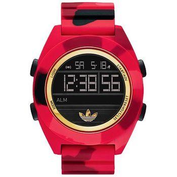 adidas 野戰遊戲迷彩冷光電子腕錶-迷彩紅 ADH2990