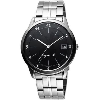 agnes b 蜥蜴圖樣刻畫時尚腕錶-黑/銀 BP9001J1