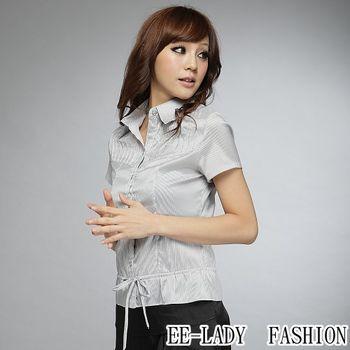 【EE-LADY】OL直條紋綁帶短袖襯衫-黑灰(34,36)