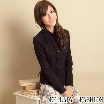【EE-LADY】OL條紋荷葉邊長袖襯衫--黑色(34,36,42)