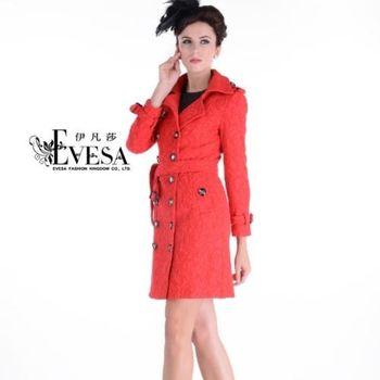 【EVESA伊凡莎】高檔歐美蕾絲顯瘦雙釦風衣洋裝外套-型