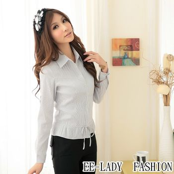 【EE-LADY】OL直條紋綁帶長袖襯衫-銀灰(40,42)