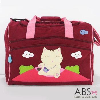 【ABS貝斯貓】貓咪拼布包 超大旅行袋 行李袋 紅色88-129