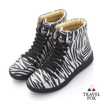 Travel Fox(男) SEXY-性感大膽 個性風高筒休閒鞋 - 斑馬紋