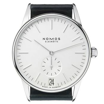 NOMOS Orion Weiss Date 381 小秒針手上鍊機械腕錶-白/38mm
