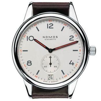 NOMOS Club Date 773 小秒針機械腕錶-白/41.5mm
