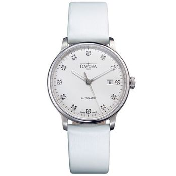 DAVOSA 161.515.15 鋒系列超薄機械腕錶-白x白色錶帶/40mm