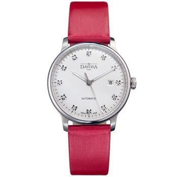 DAVOSA 161.515.65 先鋒系列超薄機械腕錶-白x紅色錶帶/40mm