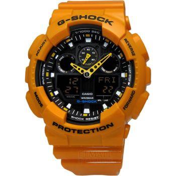 G-SHOCK 重機裝置‧3D錶盤抗磁雙顯腕錶_黃〈GA-100A-9A〉