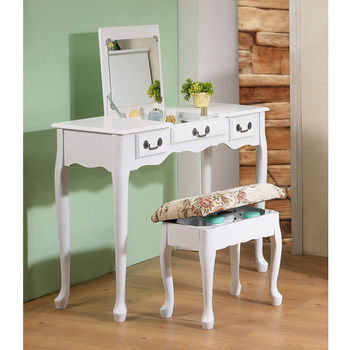 【C&B】加寬型英倫風掀鏡兩用化妝書桌椅組