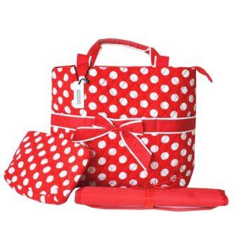 【Famis 汎迷絲】樂活多用途 手提包 側背包 媽媽包 (紅底白點 / 黑底白點)