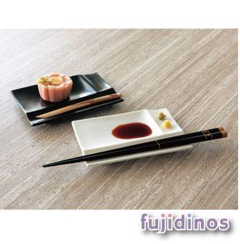 【美濃燒】白磁筷架調味皿四件組-黑色