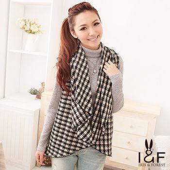 IFOREST黑白編織格紋開襟針織罩衫112-5109