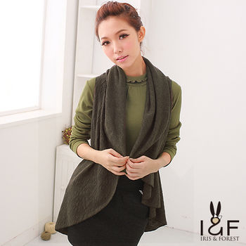 IFOREST編織格紋開襟針織墨綠罩衫112-5109