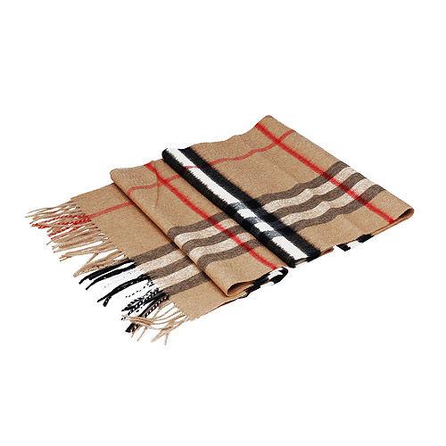 BURBERRY 經典大格紋喀什米爾羊毛圍巾(駝色)39295221-CAMEL-CHECK