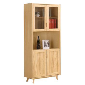 【H&D】伊特2.6尺四門實木書櫥/書櫃