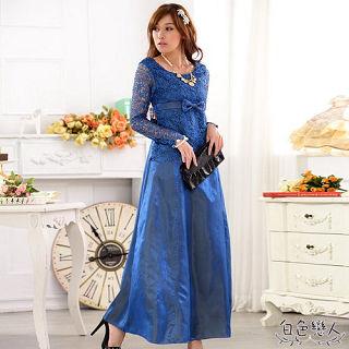 【白色戀人中大尺碼】藍色蕾絲鏤空拼接長禮服