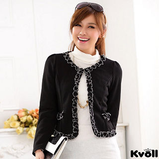 【KVOLL大尺碼】黑色小香風蕾絲邊開衫小外套