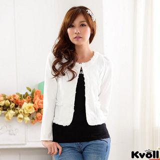 【KVOLL大尺碼】白色小香風蕾絲邊開衫小外套