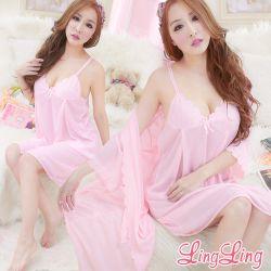 lingling日系全尺碼-浪漫玫瑰花邊冰絲二件式睡衣組(綺麗粉)A1541-2