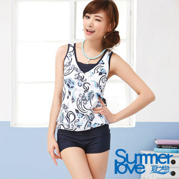 【SUMMERLOVE 夏之戀】氣質顯瘦款長版二件式泳衣E14707