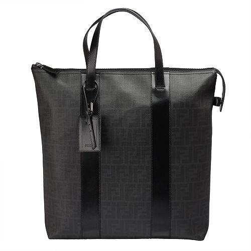 FENDI 經典滿版FF LOGO 防刮PVC拉鍊手提包(黑色)7VA286-00B0W-FOXB8