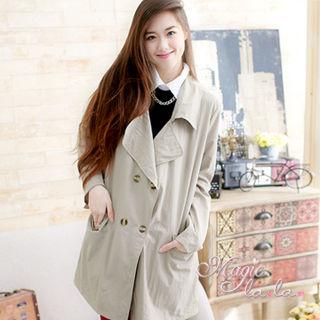 【魔法拉拉】韓系大口袋翻領襯衫外套A484(極簡杏)