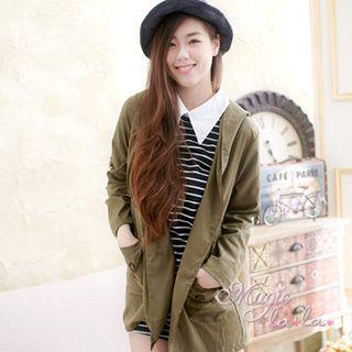 【魔法拉拉】雙口袋連帽開釦外套A415(韓風軍綠)