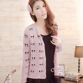【魔法拉拉】拼接網紗花織針織小外套-A258(淡粉紫)