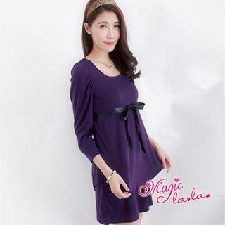 【魔法拉拉】M305  雙層波浪裙襬方領洋裝(醉心紫紅S)