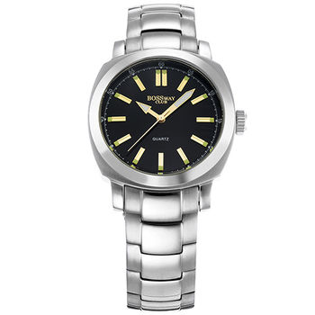 BOSSWAY方中見圓時尚腕錶-白-黑-藍-40mm