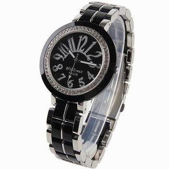 BOSSWAY時尚玻麗晶鑽腕錶-黑/白-40mm